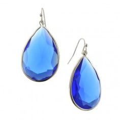 2028 Catalina Blue Large Teardrop Bezel Set Earrings