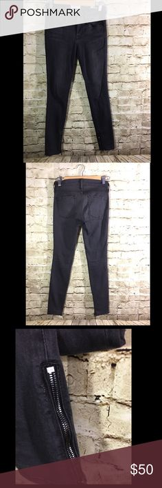 """Frame Denim Le Skinny de Jeanne Zipper St Quintin Name Brand: Frame Condition: Pre Own, Excellent Condition, No flaws to note used a handful of times  Size: 25 (see measurements)  Color: Gray, faded washed black  Style: Skinny with Side zippers  Material: 50% Modal 41.5% Cotton 5% Polyester 2.5% Lycra   Always check the measurements, label sizes are not consistent.   Measurements are approx and are of item laying flat and unstreched: Waist:13 """" Rise: 8.5"""" Inseam: 28.5"""" Length:36.5 """" Frame…"""