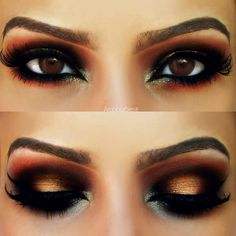 Makeup for brown eyes | Gold and Red Arabic Look, warm tones to bring the warmth out in brown eyes.  Also brings the golds and coppers out