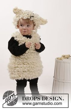"""Counting Sheep / DROPS Extra 0-1224 - Carnaval DROPS: Conjunto de: Chaleco """"oveja"""" DROPS y banda para la cabeza """"oveja"""", tejidos en punto de rulos en """"Eskimo"""" y """"Nepal"""". Talla: 2 – 6 años."""