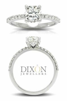 Cushion Cut Engagement Ring with Diamond Encrusted Setting Cushion Cut Engagement Ring, Diamond Engagement Rings, Jewels, Jewerly, Gemstones, Diamond Engagement Ring, Fine Jewelry, Gem, Jewelery