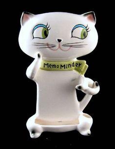 VTG Holt Howard Cozy Kitten Memo Minder Note Pad Holder Wall Plaque Green Eyes