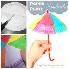 Paper plate umbrella craft for spring. Spring arts and crafts ideas for kids.