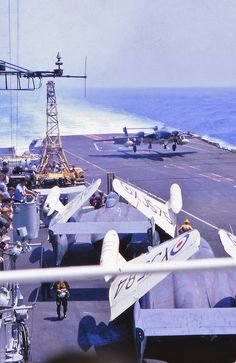 Deck Landing by a Sea Vixen of 893 Naval Air Squadron aboard HMS Victorious: 1967