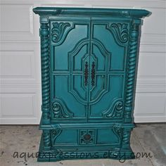 Vintage Armoire /Gypsy Teal / Bedroom Furniture/ by AquaXpressions, $499.00