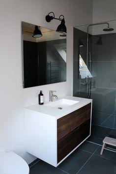 SkabRum, Bathroomfurniture in smoked oak. #bathroom #customerpictures #danishdesign #design #smokedoak #wood #badeværelse #badmøbel