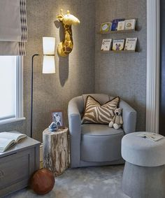 shows us how to create the cosiest nursery corner, using our Madison chair, Clarkson lamp and Petrified Wood… Baby Bedroom, Nursery Room, Kids Bedroom, Location Meublée, Nursery Furniture, Decoration, Room Decor, Interior Design, House