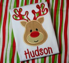 Personalized Boys Reindeer Christmas Shirt Onesie by ChicSunflower, $24.00