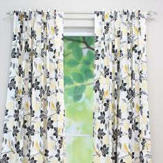 Brite Ideas Living Small Talk Blackbird Back Tab Curtain Panel