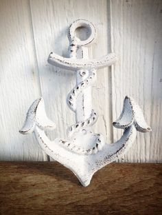 BOLD snowy white NAUTICAL anchor hook // wall coat hook // sailor beach house decor // SHABBY cottage chic // cast iron.