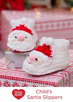 Child's Santa Slippers Free Crochet Patterns from Red Heart Yarns -- Children will love wearing these little Santa slippers! You can crochet them in little time and give them to the children in your life.
