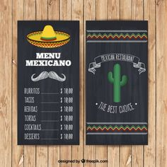 Mexican menu with hat and cactus in blackboard style Free Vector Mexican Food Menu, Mexican Dinner Party, Mexican Restaurant Design, Mexican Night, Logo Restaurant, Fiesta Theme Party, Taco Party, Tacos Menu, Burrito Bowl Meal Prep