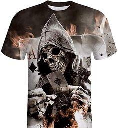 4a4f4b55e321 Hevoiok Herren Sommer Shirt Kurzarm-Shirt Fashion Schädel 3D Druck Oberteile  Bluse Mode Männer Lässig