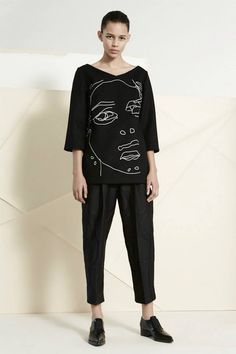 Stella McCartney Melton Gemma top with line drawn faces embroidery, Halo Dot Doris trousers and Frankie elastic loafers