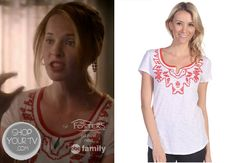 Daphne Vasquez (Katie Leclerc) wears this split scoop neck tee with bohemian beading along the neckline in this week's episode of Switched at Birth.