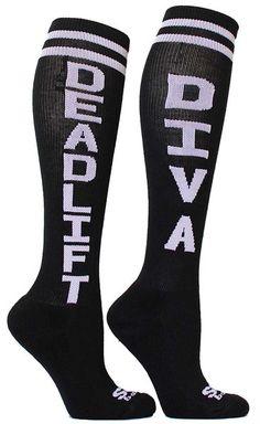 Black Deadlift Diva knee high CrossFit socks