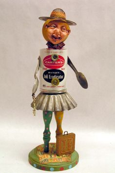 Assemblage Art Doll Vintage On The Go Gloria Ink by mixedmediamax, $52.00