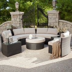 Meridian All Weather Wicker Sectional- Khaki (2799) 4 benches 65 by 34by 29h
