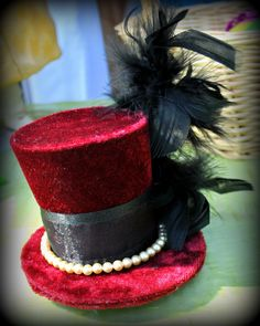 Sexy! Great for Halloween costume! Velvet Feathers and Pearls OH MYY Scarlet Velvet by JoCatsTopHats Mad Hatter - Halloween - Burlesque - Tea Party - goth