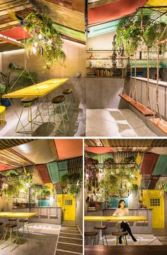 Q&A Architecture Design Research have designed Barraco, a tropical inspired bar in Shanghai,that features recycled materials, swings and a hanging table. In China, Cafe Design, Store Design, Home Renovation, Ideas Cabaña, Juice Bar Design, Tropical Interior, Luxury Interior, Restaurant Interior Design