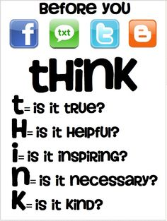 Teach students to T.H.I.N.K. before they act in digital spaces.