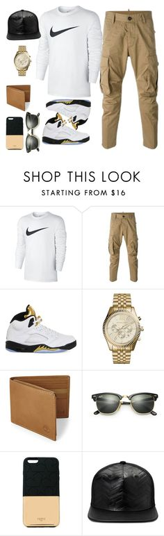 """""""🔥"""" by jasendanestyles ❤ liked on Polyvore featuring NIKE, Dsquared2, Michael Kors, Timberland, Ray-Ban, Ports 1961, Gents, men's fashion, menswear and nike"""