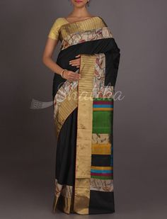Vayjanthi Bold Black With Colorful Pallu Work Border #ChikankariSilkSaree