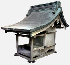 "Small Shinto Shrine or Large Kamidana - Keyaki Wood Frame with Copper-Tiled Roof. Circa Edo Period (1800). 61"" x 45"" x 67""."