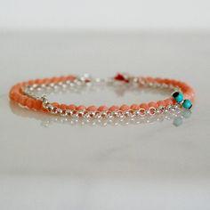 Rosa Koralle und Silber Kette Armband mit Seidenkordel