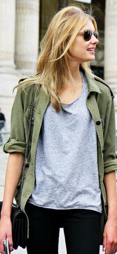 army jacket + grey tee