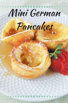 Makes 18 Mini German Pancakes · Check out these super cute mini german pancakes! Drizzle with syrup, sprinkle with powdered sugar, or eat'em with fruit! Delicious any way you want them! Breakfast Pancakes, Breakfast Items, Breakfast Dishes, German Breakfast, Mini Breakfast Food, Yummy Breakfast Ideas, Baked Pancakes, Mothers Day Breakfast, Pancakes And Waffles