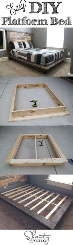 Great DIY bed with link to DIY headboard                              …