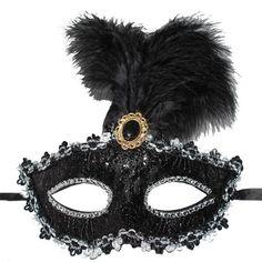 Siyah Renk İşlemeli Tüylü Carnaval Maskesi