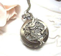 Rabbit Pocket Watch Necklace- Alice in Wonderland