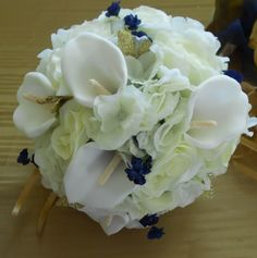 Items similar to Hydrangeas, calla, and roses royal blue ivory and white cascading bridal bouquet 23 pc free toss on Etsy Ring Boy, Cascade Bouquet, Groom Boutonniere, Bride Bouquets, Blue Ivory, Corsage, Streamers, Hydrangea, Orchids