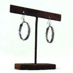 Silver Feather Hoop Earrings