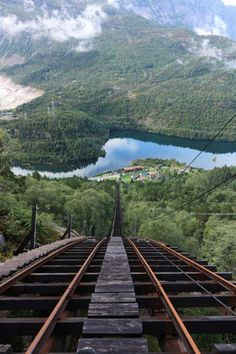 Mågelibanen cliff railway in Odda, Hordaland, Norway.It looks like a roller coaster: no ordinary ride! Oh The Places You'll Go, Places To Travel, Places To Visit, By Train, Train Tracks, Belle Image Nature, Beautiful World, Beautiful Places, Beautiful Norway
