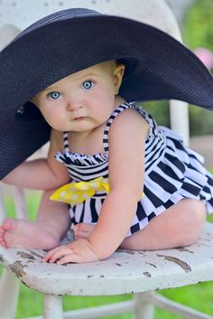 Navy & white stripes with yellow bow bathing suit