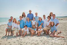 Large family reunion beach portrait color ideas