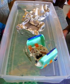 Pondering Preschool: Read: Who sank the boat? Then each child makes a boat from recycled materials and floats little animals.