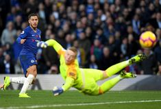 Eden Hazard of Chelsea shoots as Jordan Pickford of Everton watches. Chelsea Fc, Stock Pictures, Stock Photos, Everton Fc, Stamford Bridge, Eden Hazard, Bbc Broadcast, Soccer World, Premier League Matches