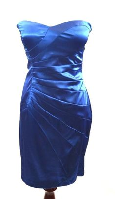 B. Darlin Womans Blue Bodycon Strapless Side Ruching Cocktail Dress - Sz 7/8