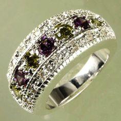 SIZE 6 Green Peridot Purple Amethyst Quartz Silver Fill Band Ring 3.5X3.5m 21pc #BandMultiGem