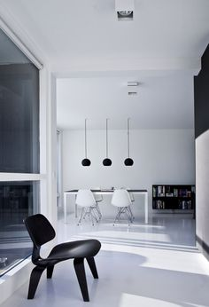 very clean, white and black apartment in copenhagen