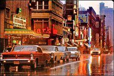 Vintage photo - year 1964 - rainy Yonge at Dundas Sq. Vintage Photography, Street Photography, Yonge Street, Toronto Ontario Canada, Toronto Travel, 11. September, Toronto Life, Lake Superior, Cool Pictures