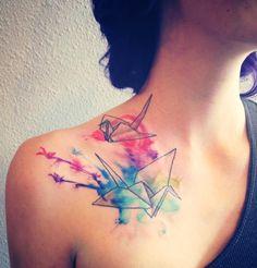 Watercolor origami cranes tattoo. Artist Tina Milford ~ Nevermore tattoos in Bentonville Arkansas.