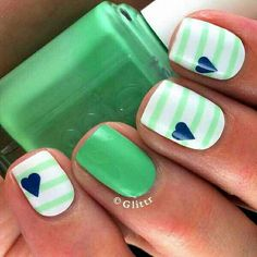 Green and white stripes. Super cute