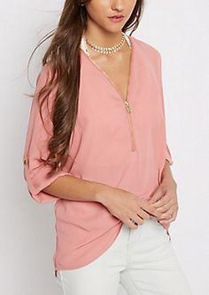 Pink Zipped Neckline Blouse   rue21