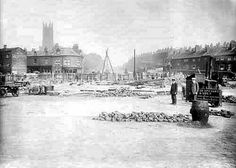 The Speights paving or laying cobbles on Quarry Hill Leeds. Leeds City, Number 18, Old Pictures, View Image, Great Britain, Yorkshire, Paris Skyline, Street View, Building
