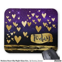 Modern Heart Sky Night Glam Green Painting Mouse Pad